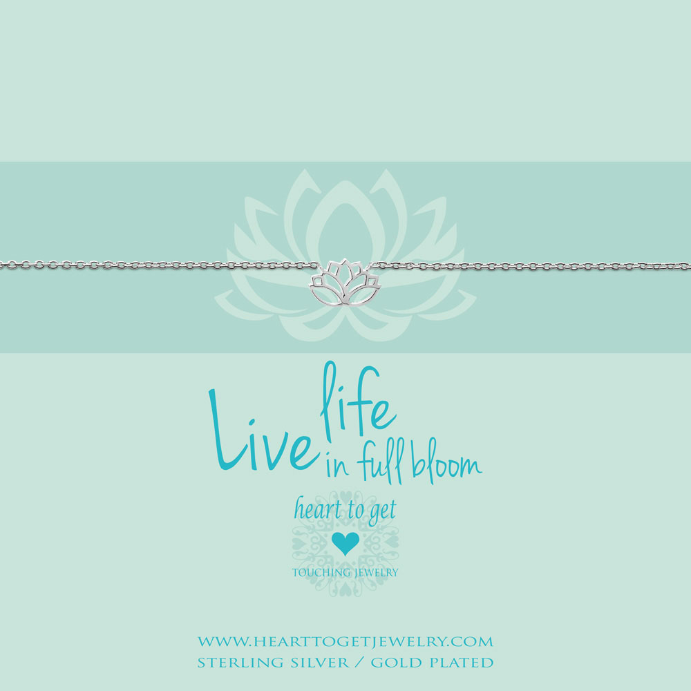 bracelet lotus, 'Live life in full bloom', silver, gold plated or rose plated, €39,95-€49,95, Love for Charity collection, Heart to Get Jewelry