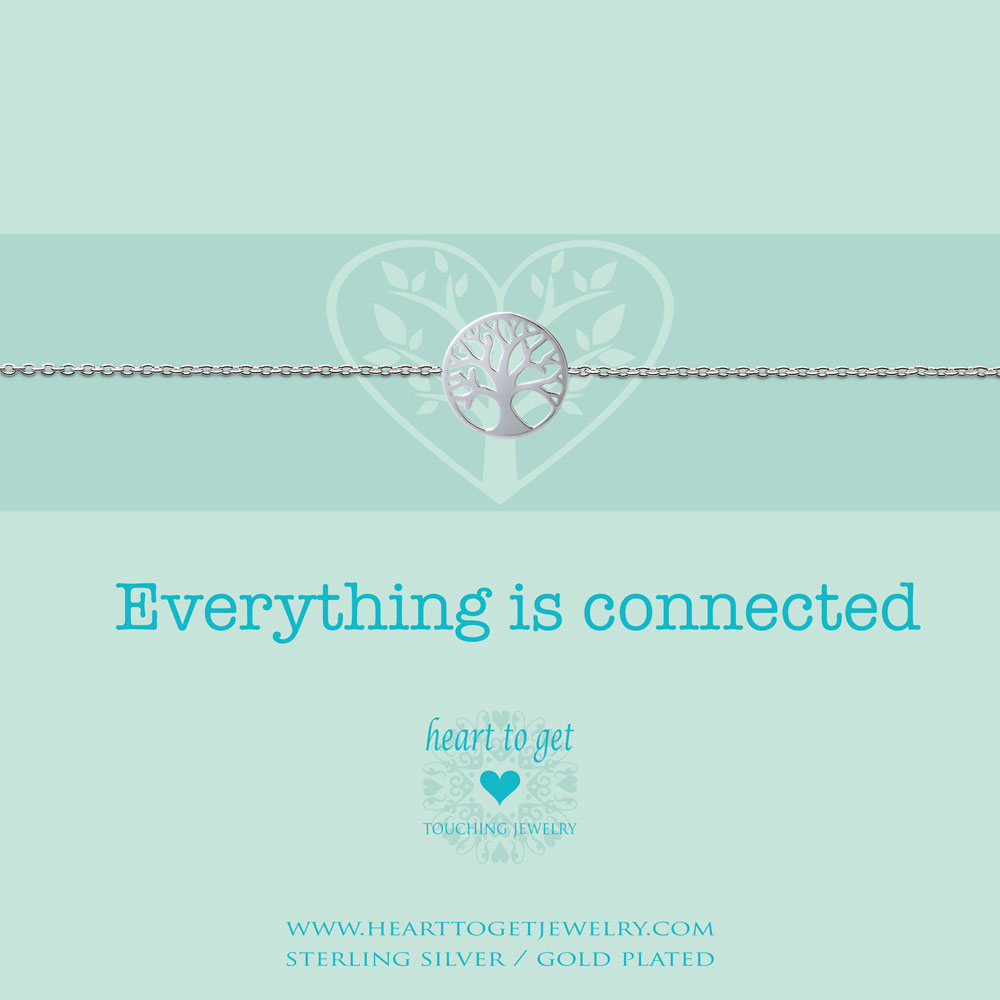 bracelet tree of life, 'Everything is connected', silver, gold plated or rose plated, €39,95-€49,95, Love for Charity collection, Heart to Get Jewelry