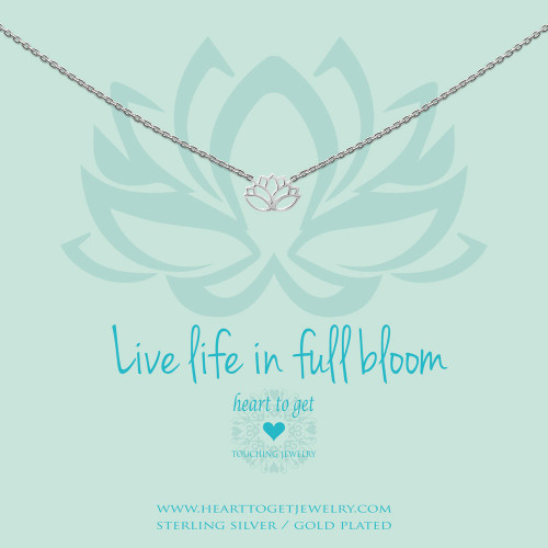 necklace lotus, 'Live life in full bloom', silver, gold plated or rose plated, €59,95-€69,95, Love for Charity collection, Heart to Get Jewelry