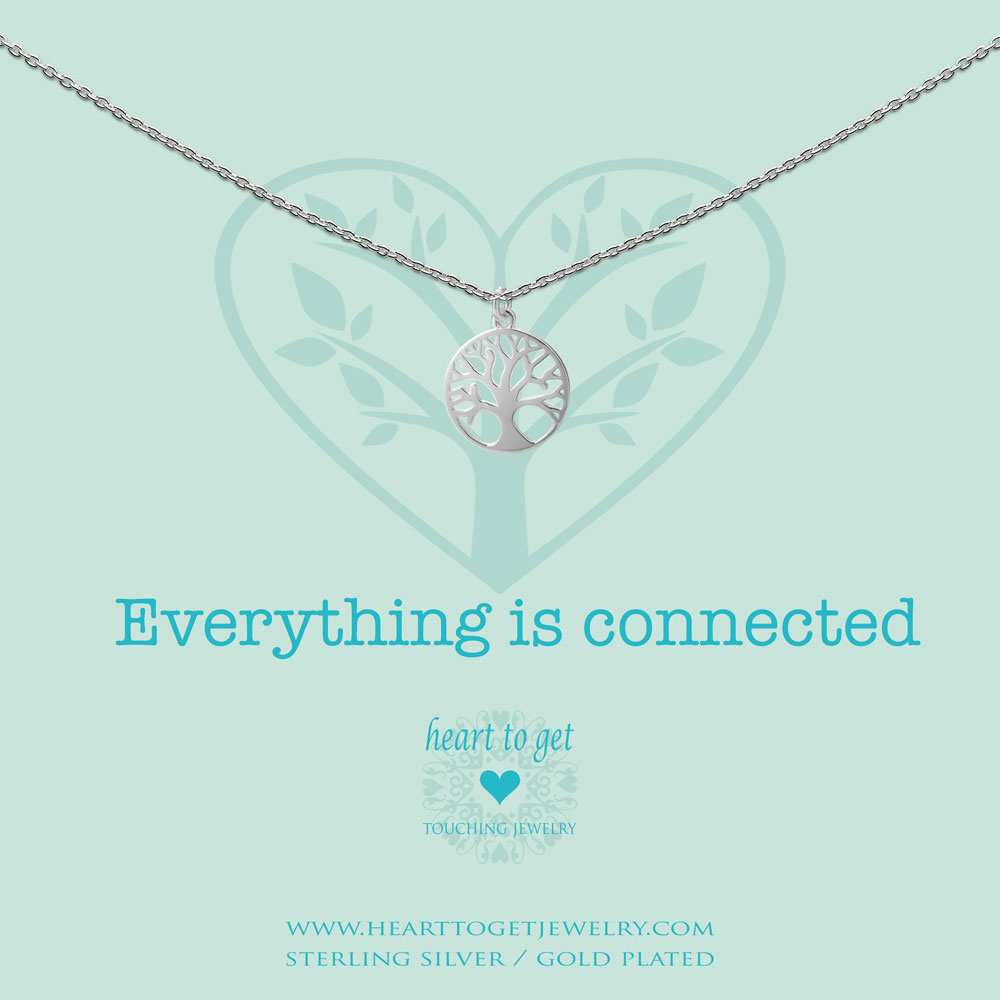 necklace tree of life, 'Everything is connected', silver, gold plated or rose plated, €59,95-€69,95, Love for Charity collection, Heart to Get Jewelry