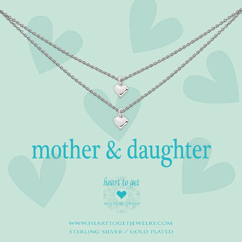 Necklace 2 chains heart mother & daughter