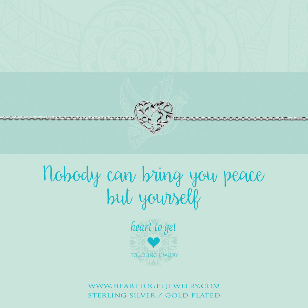 bracelet heart shape olive tree, 'Nobody can bring you peace but yourself', silver, gold plated or rose plated, €39,95-€49,95, Love for Charity collection, Heart to Get Jewelry