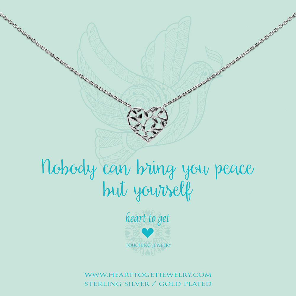 necklace heart shape olive tree, 'Nobody can bring you peace but yourself', silver, gold plated or rose plated, €59,95-€69,95, Love for Charity collection, Heart to Get Jewelry