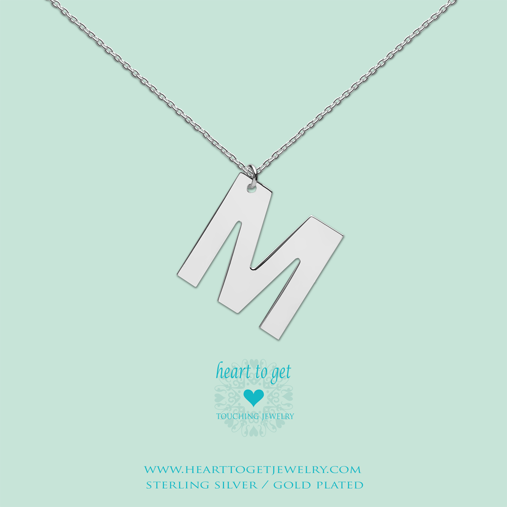 big initial M, silver and gold plated, Big Initial Collection, Heart to Get Jewelry