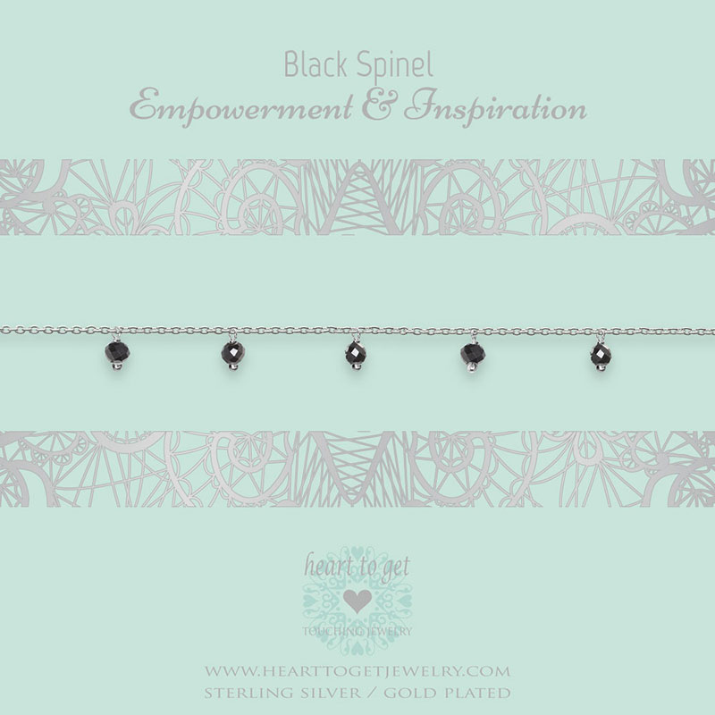 bracelet dangling gemstones Black Spinel, Empowerment & Inspiration, silver and gold plated, €49,95 - €59,95, Gemstone collection, Heart to Get Jewelry