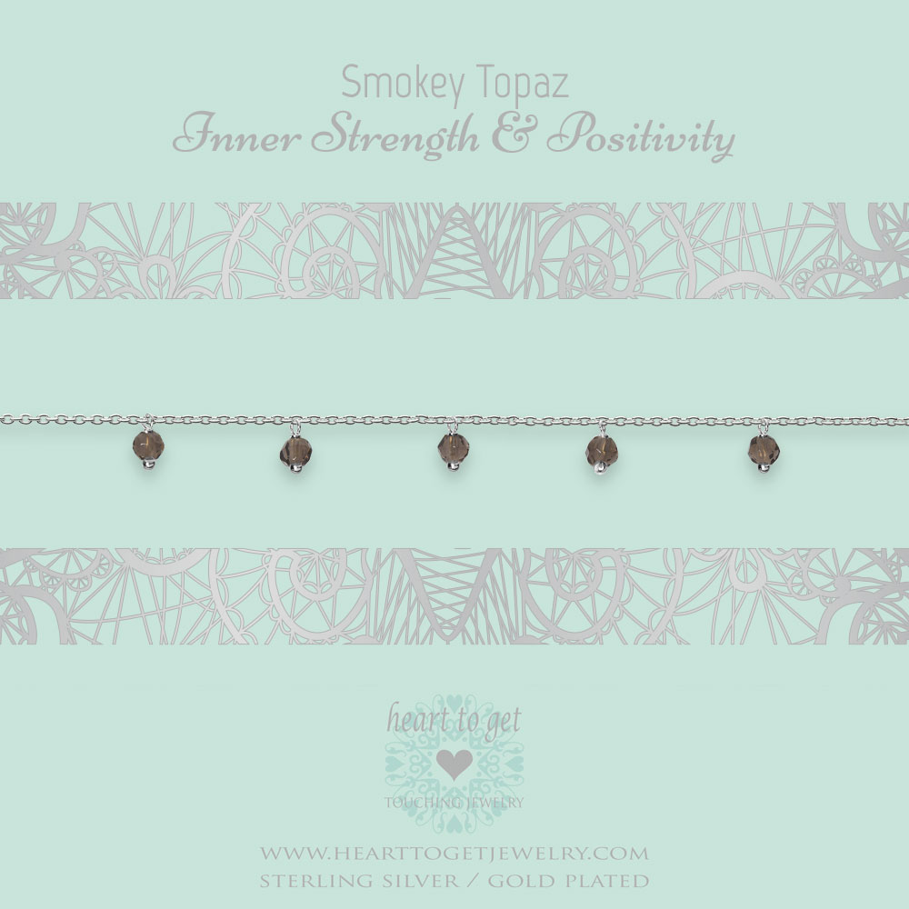 bracelet dangling gemstones Smokey Topaz, Inner strength & Positivity, silver and gold plated, €49,95 - €59,95, Gemstone collection, Heart to Get Jewelry