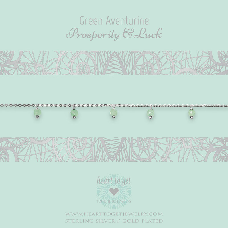bracelet dangling gemstones Green Aventurine, Prosperity & Luck, silver and gold plated, €49,95 - €59,95, Gemstone collection, Heart to Get Jewelry